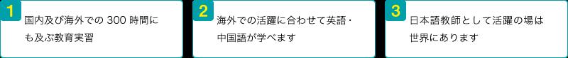 1.国内及び海外での300時間にも及ぶ教育実習 2.海外での活躍に合わせて英語・中国語が学べます 3.日本語教師として活躍の場は世界にあります