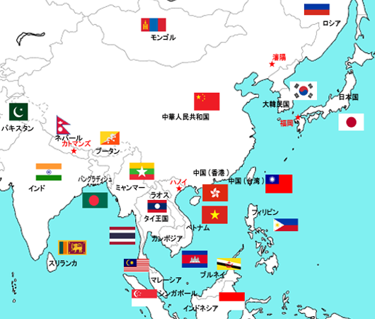 宮田学園 海外事務所MAP